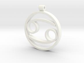 Cancer Zodiac Sign Pendant in White Processed Versatile Plastic