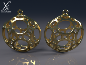 Porthole Earrings in Polished Brass