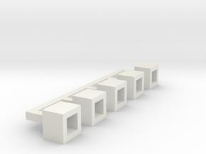 Betonblumenkübel quadratisch DDR 5er Set 1:120 in White Natural Versatile Plastic