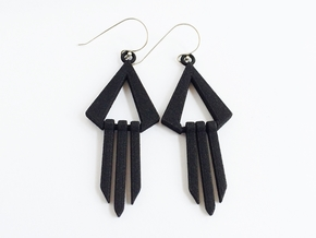 Geometric Earrings - Modern Dangle Earrings in Black Strong & Flexible