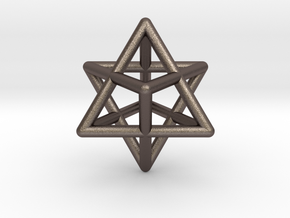 Merkaba Star Tetrahedron Pendant in Polished Bronzed Silver Steel