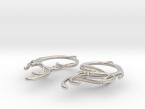 Melting Curl Earrings in Platinum