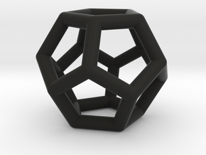 Dodecahedron Ornament in Black Natural Versatile Plastic