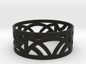 Art Deco Bangle Bracelet  in Black Natural Versatile Plastic: Medium