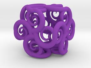 Spiral Fractal Cube in Purple Processed Versatile Plastic