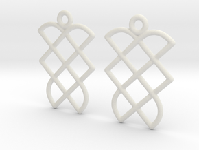 Celtic Weave Earrings - WE013 in White Natural Versatile Plastic