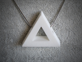 40 Degree ::: Triangle Pendant ::: v.01 in White Processed Versatile Plastic