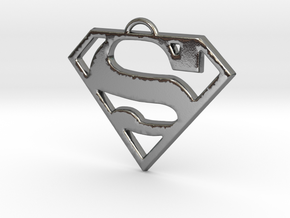 Superman Pendant in Polished Silver