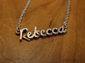 """Name Pendant - """"Rebecca"""" in Polished Bronzed Silver Steel"""