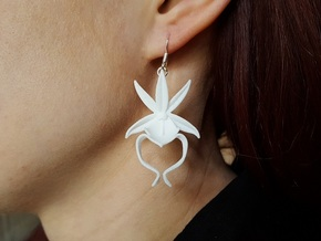 Ghost Orchid Earrings in White Natural Versatile Plastic