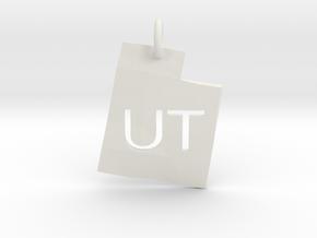 Utah State Pendant in White Natural Versatile Plastic