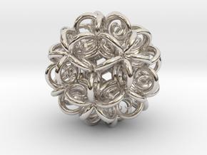 Spiral Fractal Clew in Rhodium Plated Brass