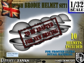 1-32 Brodie Helmet Set1 in Transparent Acrylic