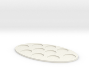 Oval Diorama Movement Tray - 25mm Round Slots in White Natural Versatile Plastic