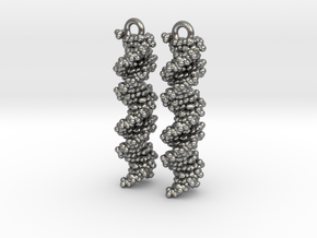 DNA Molecule Earring Set in Natural Silver