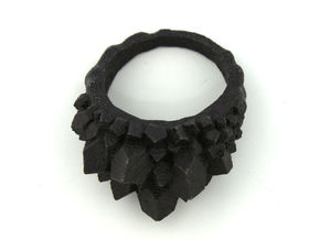 Crystal Ring Size 8 in Matte Black Steel