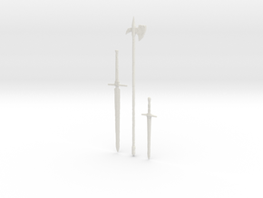 """BotW"" Rusty Weapons Set in White Natural Versatile Plastic: 1:12"