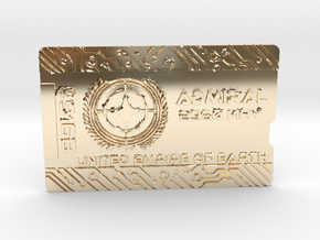 Starcitizen Admiral Keycard - Horizonal in 14k Gold Plated Brass