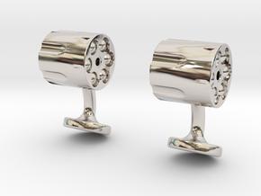 Revolver Cufflinks in Rhodium Plated Brass