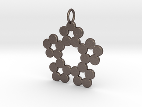 Circles Snowflake Pendant Charm in Polished Bronzed Silver Steel
