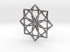 Modern Geometric Floral Pendant Charm in Premium Silver