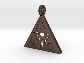 Zelda-Triforce Pendant in Polished Bronze Steel