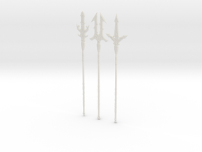 """BotW"" Elemental Spears Set in White Natural Versatile Plastic: 1:12"