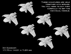 (Armada) 6x X4 Gunship in Smooth Fine Detail Plastic