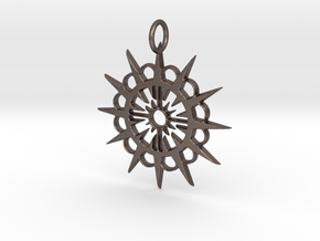 Abstract Patterned Circle Stylized Sun Pendant in Polished Bronzed Silver Steel