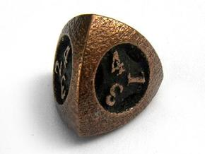 Overstuffed d4 in Polished Bronzed Silver Steel