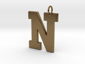 N Pendant in Natural Bronze