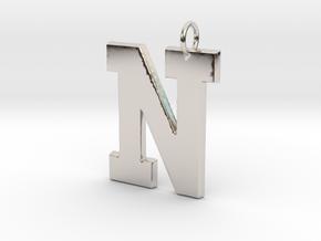N Pendant in Rhodium Plated Brass