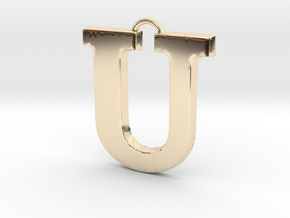U Pendant in 14k Gold Plated Brass