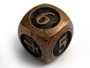 Overstuffed d6 in Polished Bronzed Silver Steel