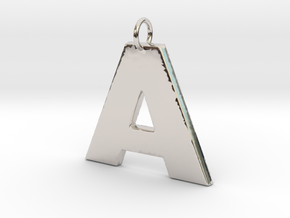 A2 Pendant in Rhodium Plated Brass