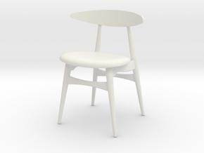 Miniature CH33 Chair -  Hans J. Wegner in White Natural Versatile Plastic: 1:12