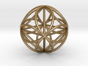 """Octasphere w/ nested Octahedron 1.7"""" in Polished Gold Steel"""