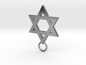 Star of David 2mm in Polished Silver