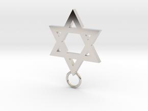 Star of David 2mm in Rhodium Plated Brass