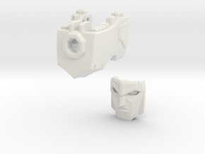 (1.5mm Screw) TR Faceplate & Helm for CW Megatron in White Natural Versatile Plastic