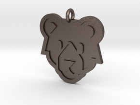 Bear Pendant in Polished Bronzed Silver Steel