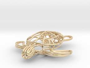 Turtle Wireframe Keychain in 14k Gold Plated Brass