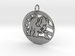 U.S. E Pendant in Natural Silver