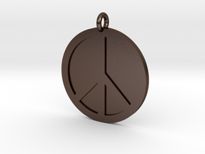 Peace Pendant in Polished Bronze Steel