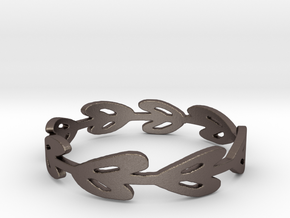 Simple Laurel Ring in Polished Bronzed Silver Steel: 12 / 66.5