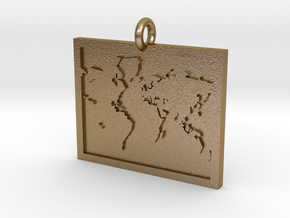 World Map Pendant in Polished Gold Steel