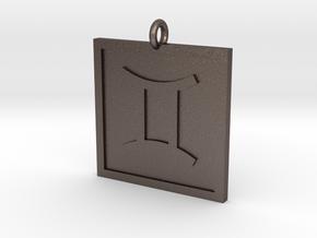 Gemini Pendant in Polished Bronzed Silver Steel
