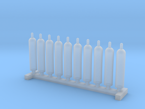 N Scale 10 Gas Cylinders in Smooth Fine Detail Plastic