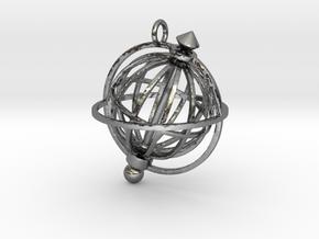 Spinning Globe Pendant in Polished Silver (Interlocking Parts): Medium