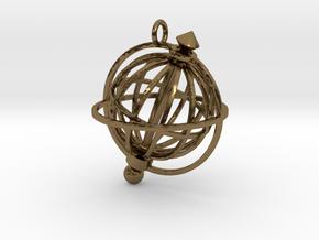 Spinning Globe Pendant in Interlocking Polished Bronze: Medium